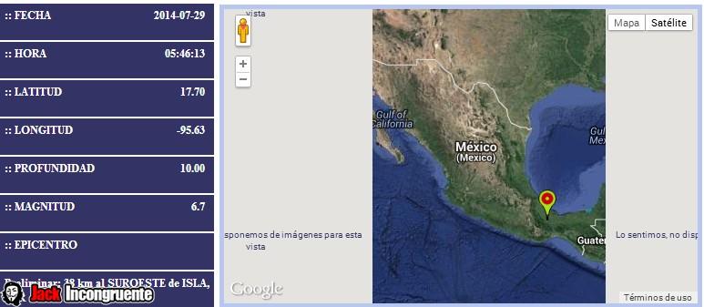 SISMO Magnitud 6.7 Loc. 38 km al SUROESTE de ISLA, VER