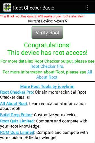 root cheker Congratulation