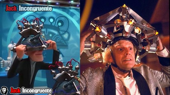 big hero 6 analizador de ondas cerebrales, en referencia a la creación del Dr. Emmett Brown