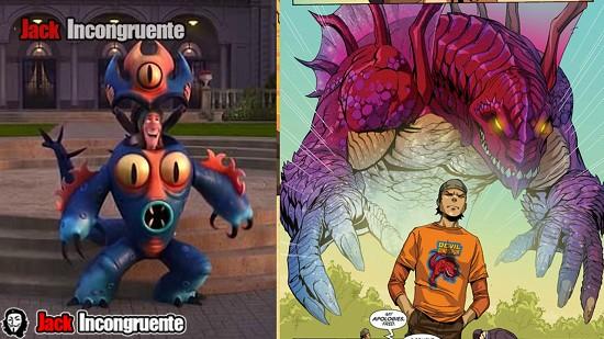 big hero 6 aspecto de Fred en la pelicula y en el comic