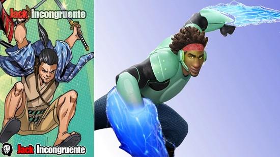 big hero 6 aspecto de Wasabi-no-Ginger en la pelicula y en el comic