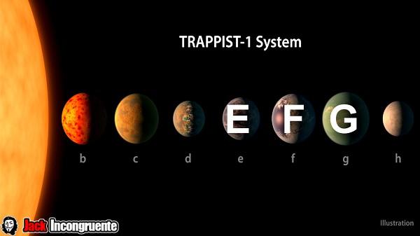 Los planetas más destacados son TRAPPIST-1e, f y g ya que representan el santo grial para los astrónomo al estar a una distancia óptima.