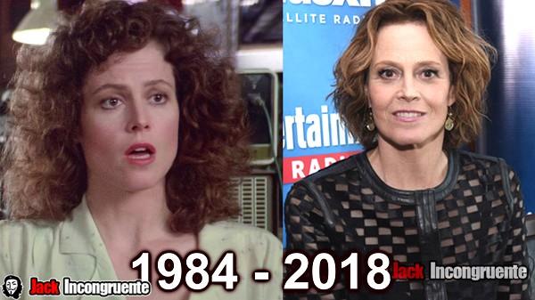 cazafantasmas antes y despues 2018 Sigourney Weaver Dana Barrett