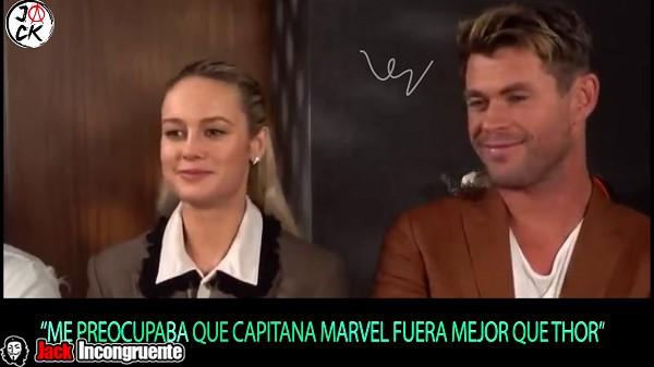 Me preocupaba que Capitana Marvel fuera mejor que Thor, eso era lo que no dejaba dormir al actor Chris Hemsworth