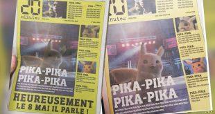 Detective Pikachu en primera plana en Periódico Frances