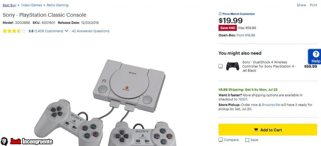 consola PlayStation Classic de 99 dólares a tan solo 19.99 dólares.