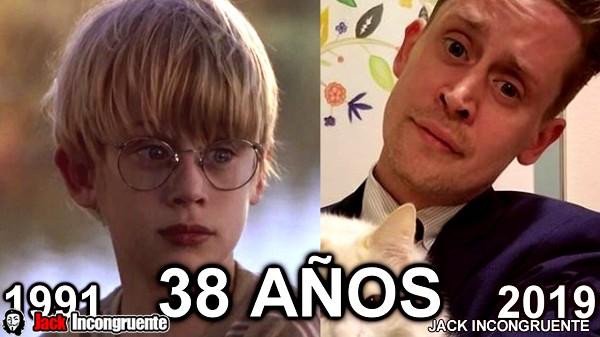 El antes y despues Thomas J. Sennett es decir el actor Macaulay Culkin ahora tiene 38 años de edad.