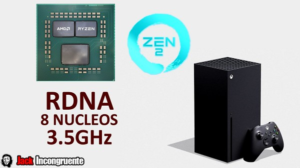 Xbox series X especificaciones procesador AMD Zen 2 con arquitectura RDNA CPU 3.5GHz