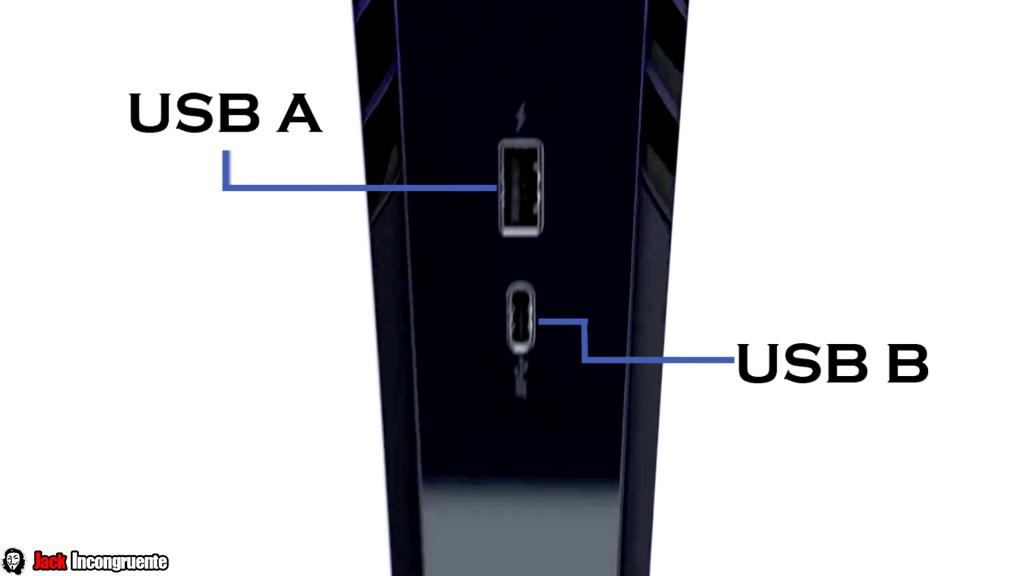 playstation 5 puerto USB A y otro puerto USB C.